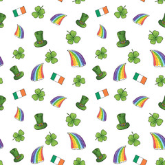 St Patrick's Day hand drawn doodle Seamless pattern, with leprechaun hat, rainbow, four leaf clover, flag of Ireland vector illustration background.