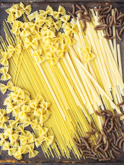 Many types of dry pasta, top view