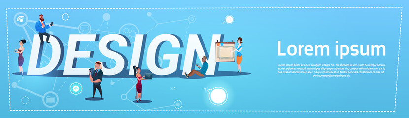 People Group With Gadgets Designers Team Design Concept Flat Vector Illustration