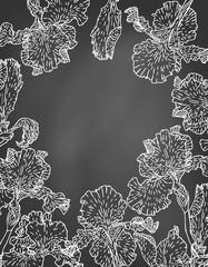 Card with hand drawn iris flowers on chalkboard.