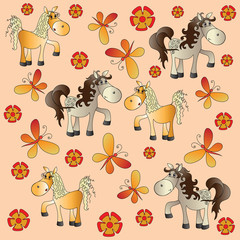 Funny horse in a meadow. Baby pictures. Cartoon characters. Design for a card, textiles, children's books, the background image.