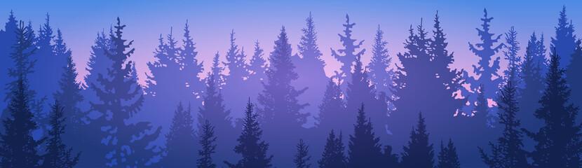 Pine Forest Landscape Mountain Sky Woods Flat Vector Illustration
