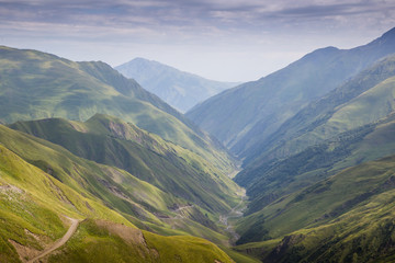 River Valley in Caucasus Mountains