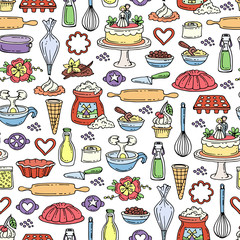 Vector seamless pattern with hand drawn colored cakes. Pattern on the theme of food and kitchen