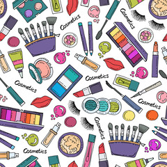 Vector seamless pattern with hand drawn colored cosmetics. Pattern on the theme of fashion and beauty