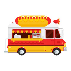 The colorful cute hot dog van vector flat illustration, the hot dog and snacks truck, side view, isolated on white background. Hot dog illustration for banner design, web and other graphic