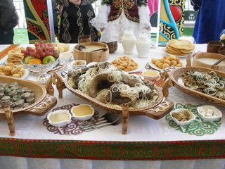 Kazakh national dishes on the holiday table. OLYMPUS DIGITAL CAMERA