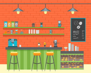 Cartoon Coffee Shop Design Interior. Vector