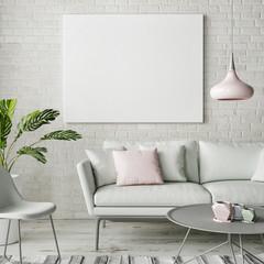 Mock up poster, hipster living room design, 3d illustration