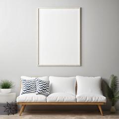 Mock up poster, hipster living room, 3d render, 3d illustration