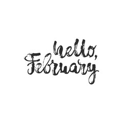Hello, february - hand drawn lettering phrase isolated on the white background. Fun brush ink inscription for photo overlays, greeting card or t-shirt print, poster design.