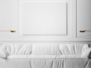 Mock up poster, minimalism white interior, illustration