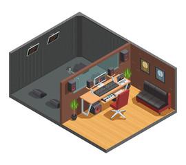 Soundbox Interior Isometric Composition