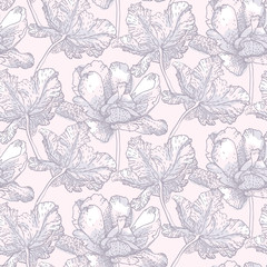Vintage vector pattern with field of tulip flowers