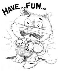 Cat cartoon playing yarn have fun