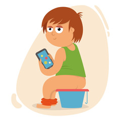 child playing on the phone and sitting on the pot