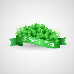 Saint Patrick Day Banner with clover and coins