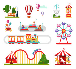 Flat design vector icons set of amusement park and attractions elements for infographic map design. Carousel, ferris wheel, roller coaster, train, cars. People rest in the park concept.