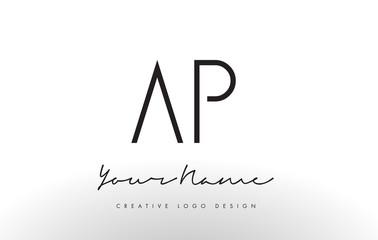 AP Letters Logo Design Slim. Creative Simple Black Letter Concept.