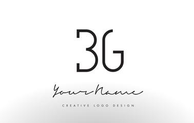BG Letters Logo Design Slim. Creative Simple Black Letter Concept.
