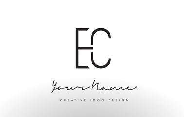 EC Letters Logo Design Slim. Creative Simple Black Letter Concept.