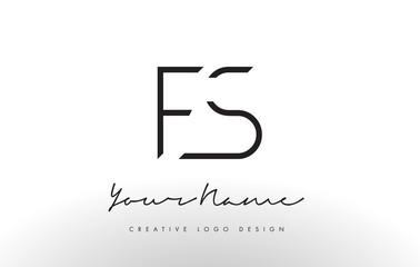 FS Letters Logo Design Slim. Creative Simple Black Letter Concept.