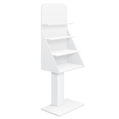 Tabletop Stand, Cardboard Floor Display Rack For Supermarket Blank Empty With Shelves Mock Up On White Background Isolated. Ready For Your Design. Product Advertising. Vector EPS10