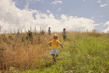 Three young children exploring, outdoors