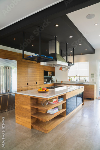 Kitchen with american walnut wood island cabinets and for Kitchen cabinets quebec
