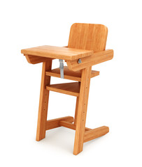 Chair. Wooden chair for feeding baby. 3D illustration