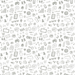 Social media sketch vector seamless doodle pattern