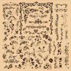 floral ornament elements collection