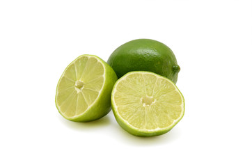 Fresh limes cutout isolated on white background