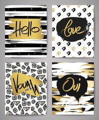 Golden hand drawn calligraphic card set. Posters with fashion shapes. Vector collection of black, white, gold textured cards.