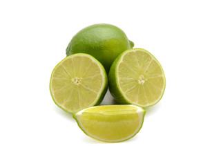 Fresh limes cutout on white background