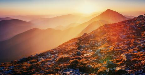magic sunset in the mountains of Ukraine. Europe