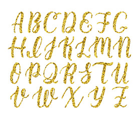 Hand drawn latin calligraphy brush script of capital letters. Gold glitter alphabet. Vector