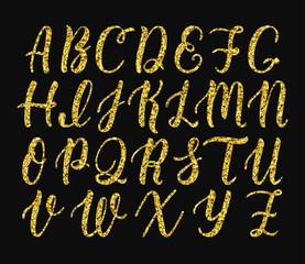 Handwritten latin calligraphy brush script of capital letters. Gold glitter alphabet. Vector