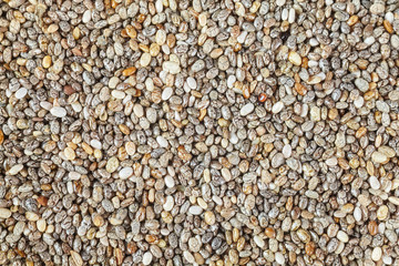 Extreme close up picture of chia seeds, food rich in omega-3 fatty acids.