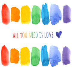Set of rainbow watercolor brush strokes and hand drawn navy blue heart isolated on white background. All you need is love. Colorful symbol of gay marriage, pride, rights equality.