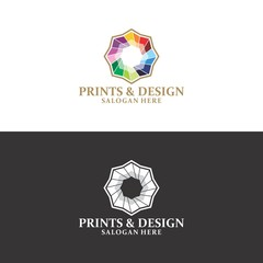 print & design logo in vector