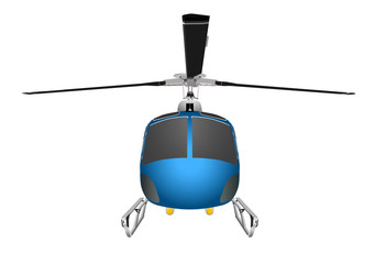 Helicopter with chassis and blades. Vector illustration eps 10 isolated on white background.