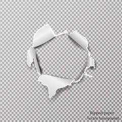 Torn paper realistic, hole in the sheet of paper on a transparent background. Vector illustration