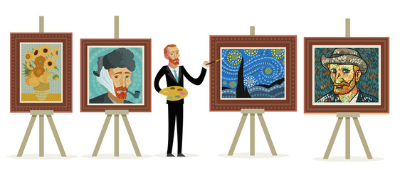 impressionist painter painting portraits landscapes and sunflowers