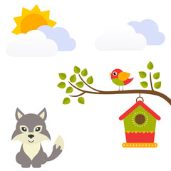 cartoon bird with birdhouse on a branch and wolf