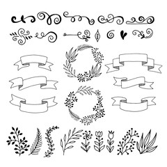 Set hand-drawn floral elements. Ribbons for inscriptions.