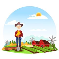 Man or grandfather farmer at farm