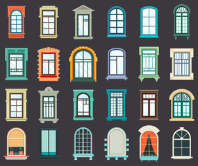Stone or plastic windows exterior view
