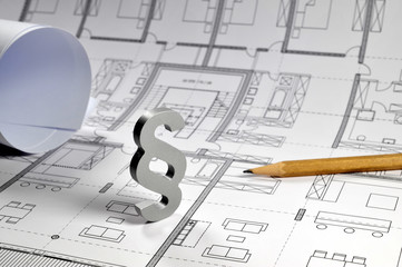Paragraph, Baurecht, Privates Baurecht, Öffentliches Baurecht, Baugesetz, Bauordnung, Bauplan, Bauwesen, Architekt, Zeichnung, Gesetz, Modernisierung