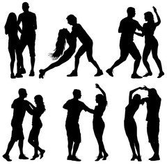 Black set silhouettes Dancing on white background. Vector illustration